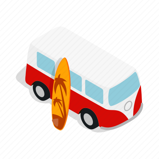 bus, isometric, summer, surfboard, surfing, vehicle, vintage icon