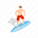 board, isometric, sea, sport, surf, surfboard, surfer icon