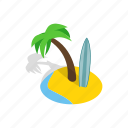 beach, isometric, ocean, palm, summer, surfboard, tropical icon