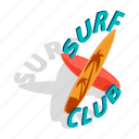 board, club, isometric, ocean, surfboard, surfing, wave icon