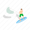 board, isometric, kite, kitesurfing, surf, surfboard, wind icon
