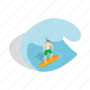 board, isometric, sport, surf, surfer, surfing, wave icon