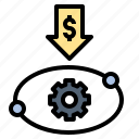 based, low, market, pricing, production icon