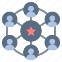 communication, effect, group, network, team icon