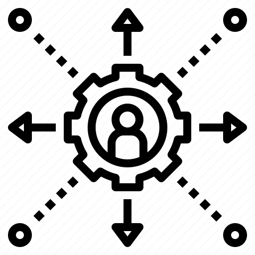 allocate, decentralization, distribution, management, operation icon