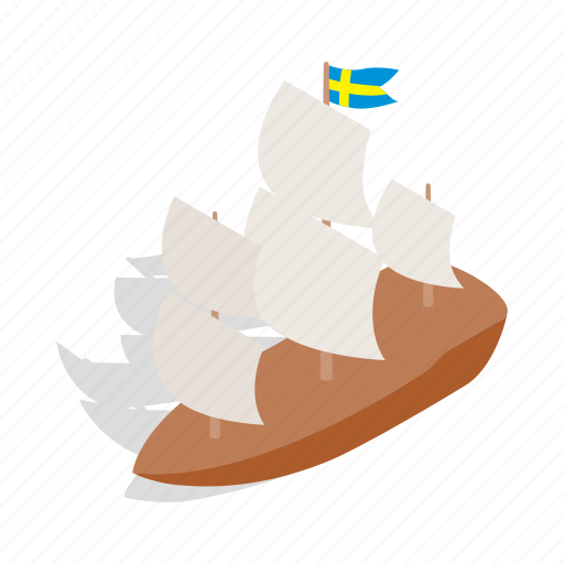 europe, isometric, sea, ship, sweden, travel, water icon