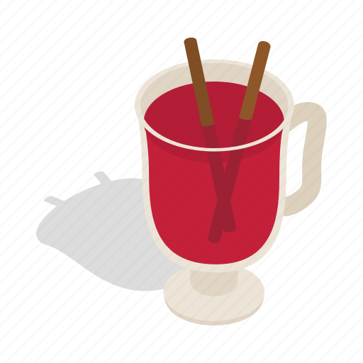 christmas, drink, glass, isometric, red, swedish, tradition icon