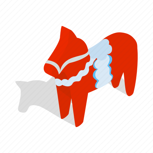 horse, isometric, painted, red, sweden, swedish, traditional icon