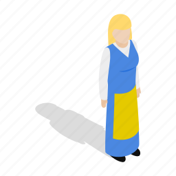 costume, dress, isometric, national, swedish, traditional, woman icon