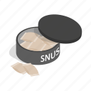 box, isometric, nicotine, portion, product, snus, unhealthy icon