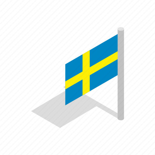 banner, country, flag, isometric, national, sweden, swedish icon