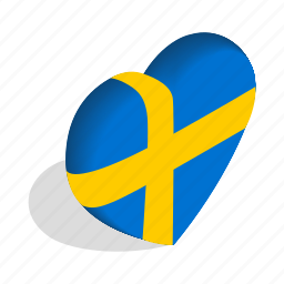 country, flag, heart, isometric, love, national, sweden icon