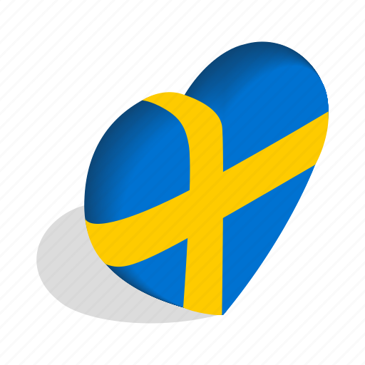 Country, flag, heart, isometric, love, national, sweden icon - Download on Iconfinder