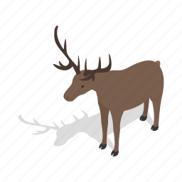 animal, buck, deer, european, isometric, mammal, roe icon