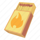 boxmatches, burning, cartoon, logo, match, object, paper icon