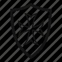 brave, danger, defense, hilt, iron, protective, shield icon