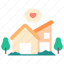 family, heart, home, living, love, trees, valentine icon