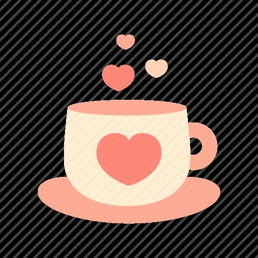 coffe, drink, heart, hot, like, love, valentine icon