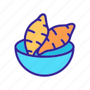batata, bowl, fresh, fried, potato, sliced, sweet icon