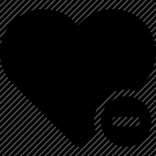 delete, favorite, heart, love, minus, passion, reduce icon