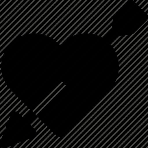 arrow, favorite, heart, love, passion, pearced icon