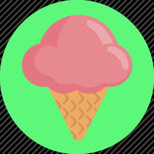 candy, cone, dessert, ice cream, strawberry, sweets icon