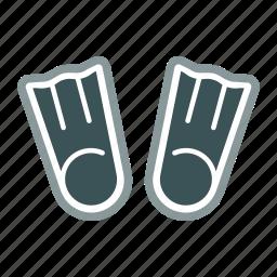 dive, fins, flipper, flippers, swim, swimming, training icon
