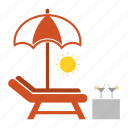 beach, bench, drink, juice, sun, swimming, umbrella icon