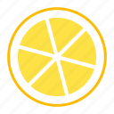citrus, fruit, garnish, lemon, slice, sour, tropical icon