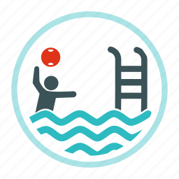ball, kid, man, playing, pool, swim, swimming icon