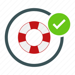 allowed, float, life, ok, safety, saver, tick icon