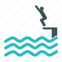 diving, jump, man, pool, swim, swimming, water icon