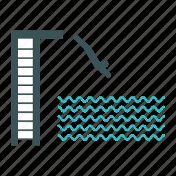 diving, jump, man, pool, swim, swimming, water icon