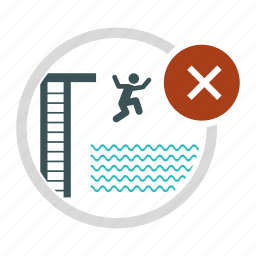 allowed, diving, jump, man, not, swim, swimming icon