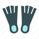 dive, fins, flipper, flippers, swim, swimming, training icon