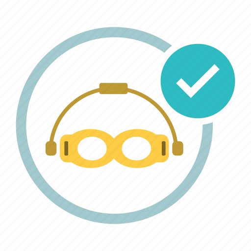 allowed, diving, glasses, goggles, ok, swimming, tick icon