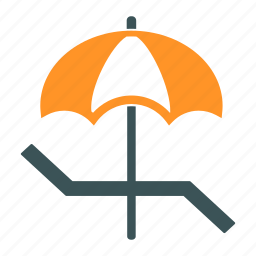 beach, bench, relax, sunbathing, swimming, tanning, umbrella icon