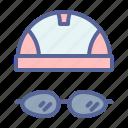 cap, goggles, swimming, water icon