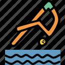 beach, dive, swim, swimming icon