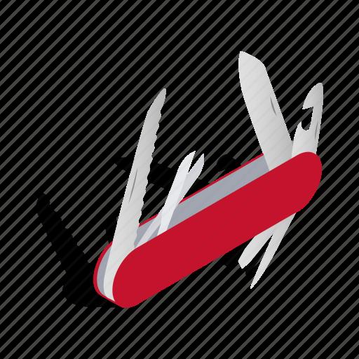 equipment, handle, isometric, jackknife, knife, metallic, steel icon