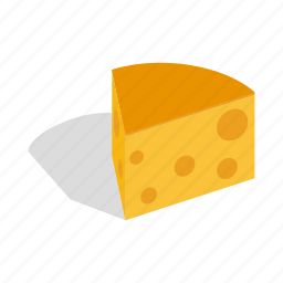 cheese, dairy, isometric, product, snack, swiss, yellow icon
