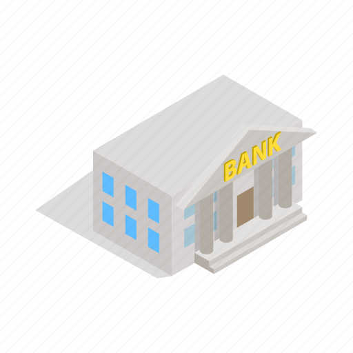 architecture, bank, building, column, finance, isometric, swiss icon