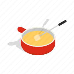 bread, cheese, cooking, cuisine, fondue, food, isometric icon