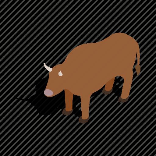 animal, brown, cattle, cow, isometric, swiss, switzerland icon