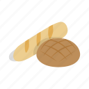 bakery, bread, bun, food, isometric, loaf, swiss icon