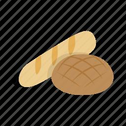bakery, bread, bun, food, isometric, loaf, swiss icon