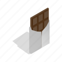 brown, chocolate, delicious, food, isometric, sweet, swiss icon