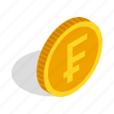 coin, currency, finance, franc, gold, isometric, switzerland icon