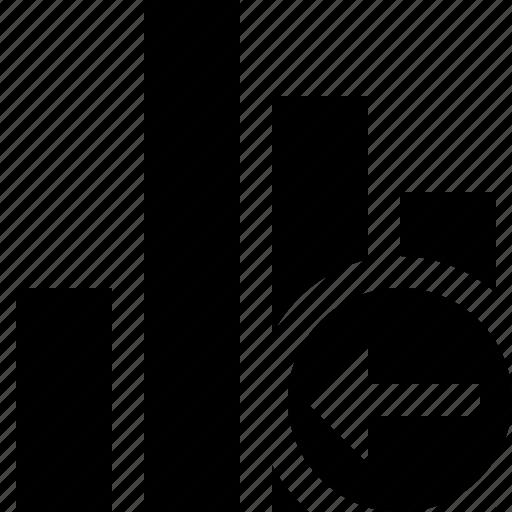 analytics, bar, chart, graph, previous, report, statistics icon