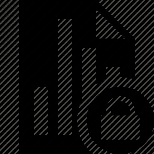 bar, chart, document, file, graph, lock, report icon